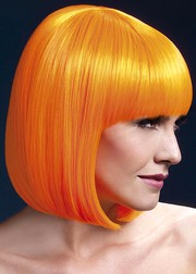Парик Fever Elise neon-orange, sleek bob with fringe, неоново-оранжевый, 33см.