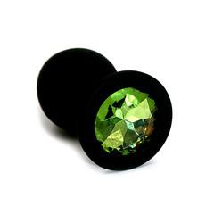 Анальная пробка Kanikule™ черный силикон с зеленым стразом, 8х3,3см/42г