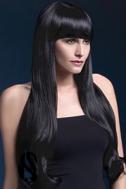 Парик Fever Bella black, natural wave with fringe, черный, 71см
