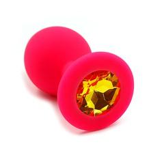 Анальная пробка Kanikule™ красный силикон с желтым стразом, 8х3,3см/42г