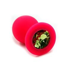 Анальная пробка Kanikule™ красный силикон с зеленым стразом, 8х3,3см/42г