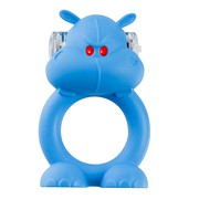 Виброкольцо Beasty Toys Happy Hippo, голубой силикон, 2,5см