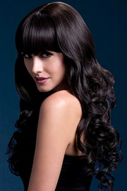 Парик Fever Isabelle black, long soft curl with fringe, темно-коричневый, 66см.