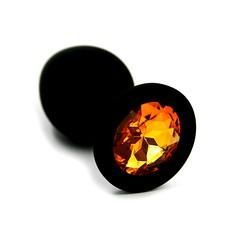 Анальная пробка Kanikule™ черный силикон с желтым стразом, 8х3,3см/42г