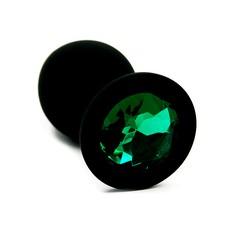 Анальная пробка Kanikule™ черный силикон с изумрудным стразом, 8х3,3см/42г