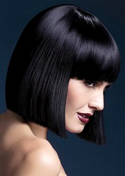 Парик Fever Lola black, blunt cut bob with fringe, черный, 30см.
