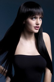 Парик Fever Jessica black, long straight with fringe, черный, 66см.
