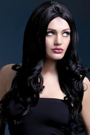 Парик Fever Rhianne black, long soft curl with centre parting, черный, 66см.