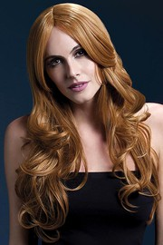 Парик Fever Khloe auburn, long wave with centre parting, золотисто-каштановый, 66см.