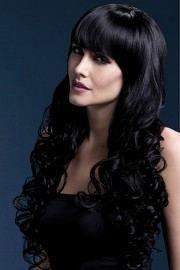 Парик Fever Isabelle black, long soft curl with fringe, черный, 66см