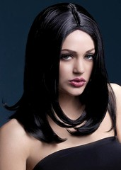 Парик Fever Sophia black, long layered with centre parting, черный, 43см