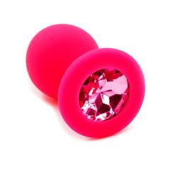 Анальная пробка Kanikule™ красный силикон с розовым стразом, 8х3,3см/42г