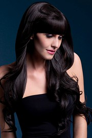 Парик Fever Yasmin brown, long loose curls with fringe, темно-коричневый, 71см.