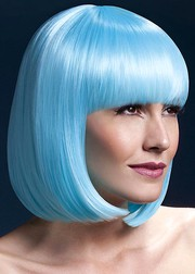 Парик Fever Elise neon-aqua, sleek bob with fringe, неоново-голубой, 33см.