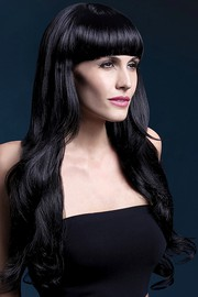 Парик Fever Yasmin black, long loose curls with fringe, черный, 71см.