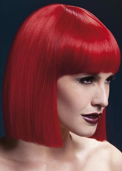 Парик Fever Lola red, blunt cut bob with fringe, красный, 30см.