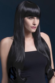 Парик Fever Bella black, natural wave with fringe, черный, 71см.