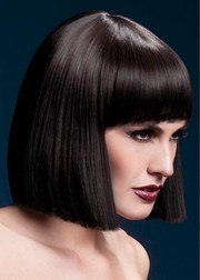 Парик Fever Lola brown, blunt cut bob with fringe, темно-коричневый, 30см.