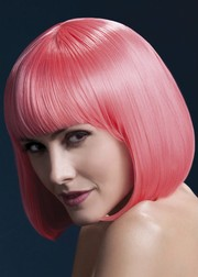 Парик Fever Elise pastel-coral, sleek bob with fringe, пастельно-коралловый, 33см.